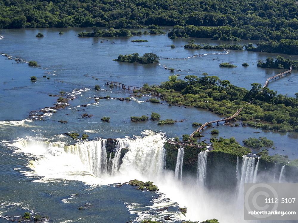 Aerial view by helicopter of Iguacu Falls (Cataratas do Iguacu), UNESCO World Heritage Site, Parana, Brazil, South America