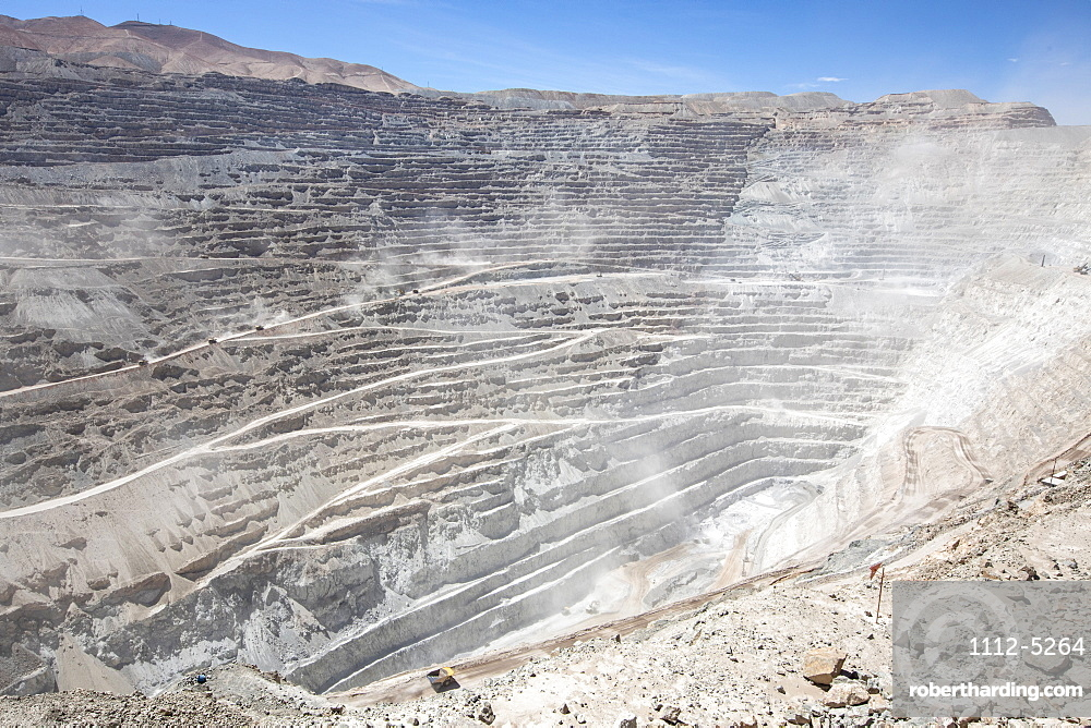 Huge machinery working the Chuquicamata open pit copper mine, the largest by volume in the world, Chile, South America