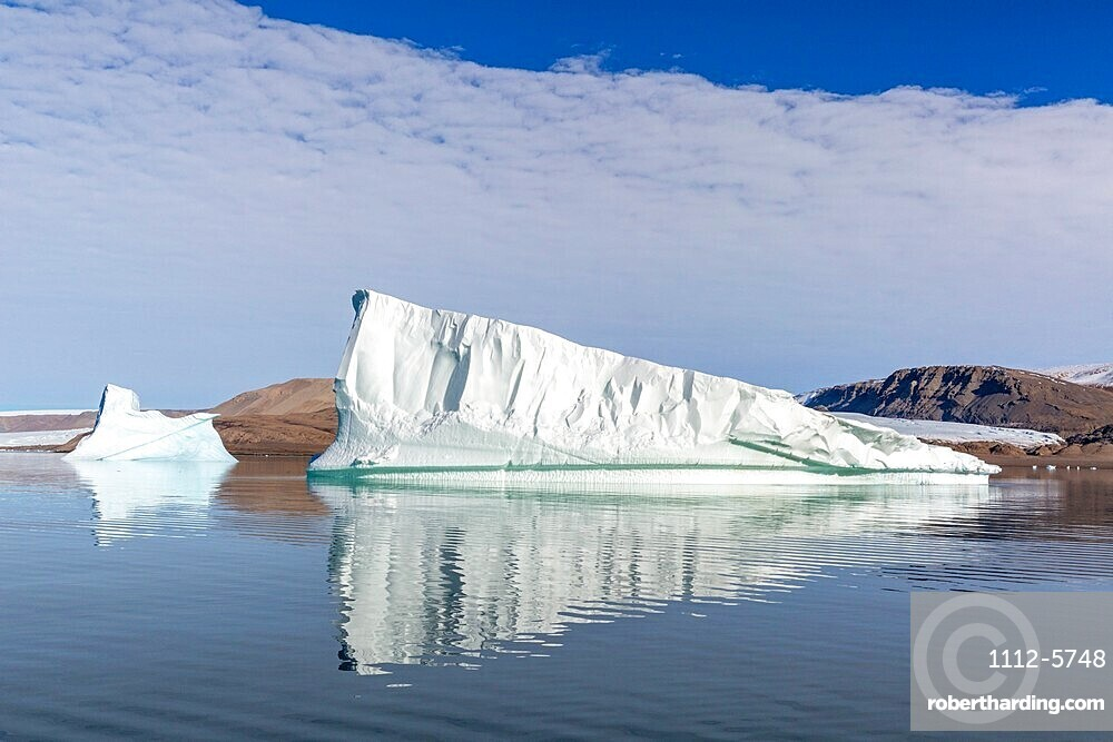 Grounded icebergs calved from nearby glacier in Makinson Inlet, Ellesmere Island, Nunavut, Canada, North America.