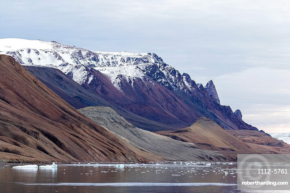Reflections in the calm waters of Makinson Inlet, Ellesmere Island, Nunavut, Canada, North America.
