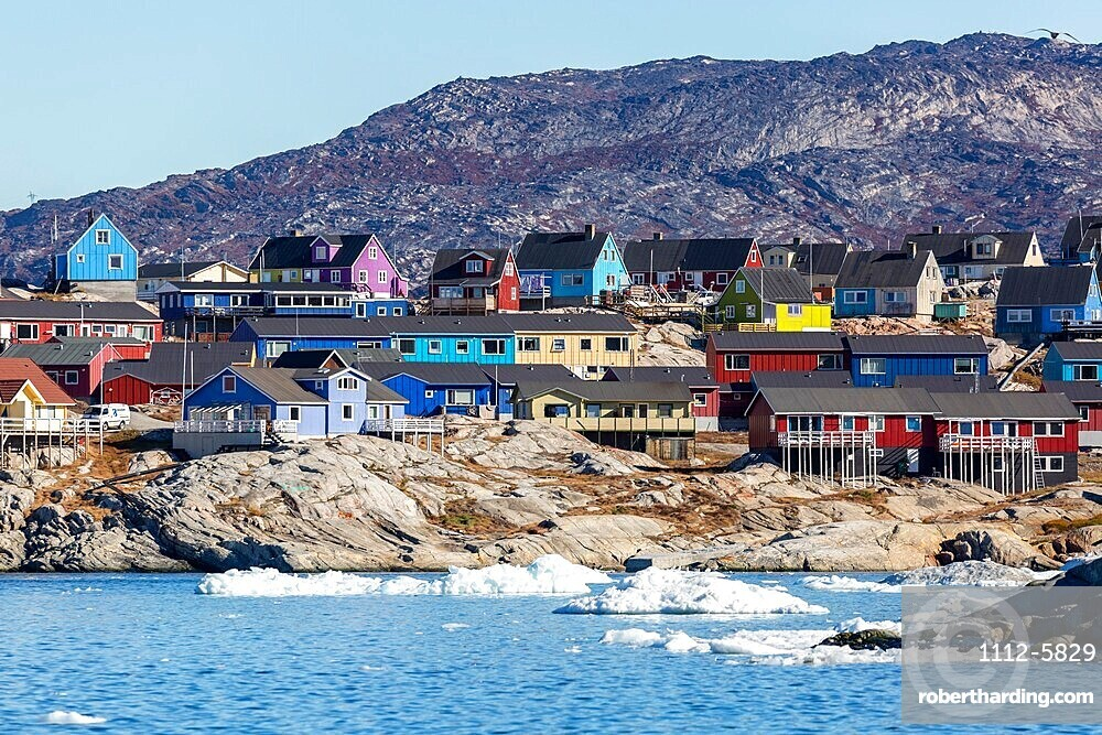 View from the outer bay of the third largest city in Greenland, Ilulissat or Jakobshavn, Greenland.