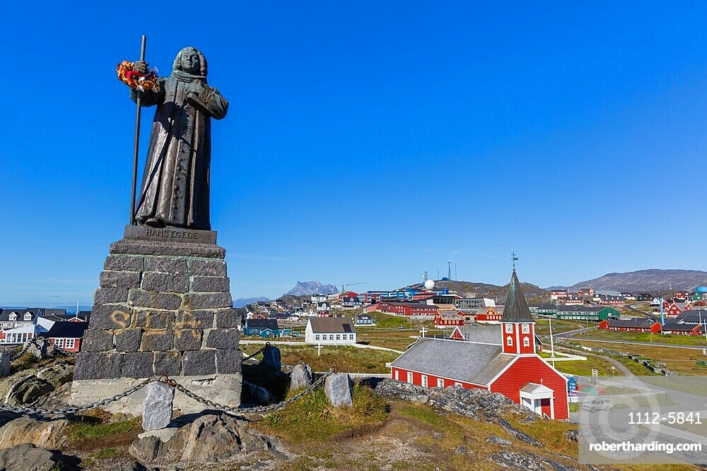The statue of Hans Egede in Nuuk, or Godthåb, the Capital and largest city in Greenland.