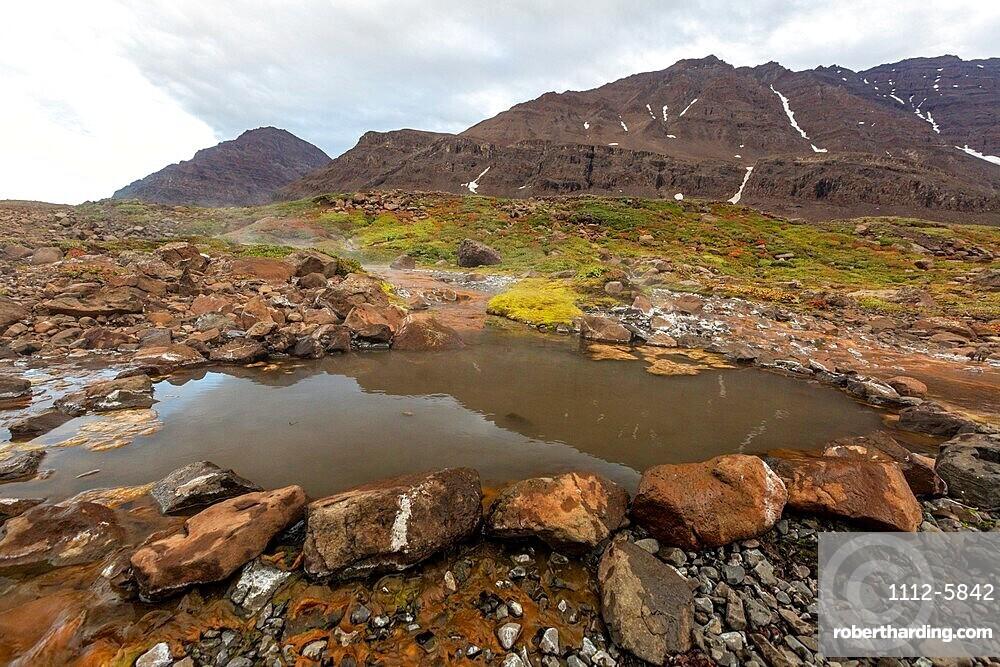 The hot springs at Rømer Fjord, Scoresbysund, eastern Greenland.