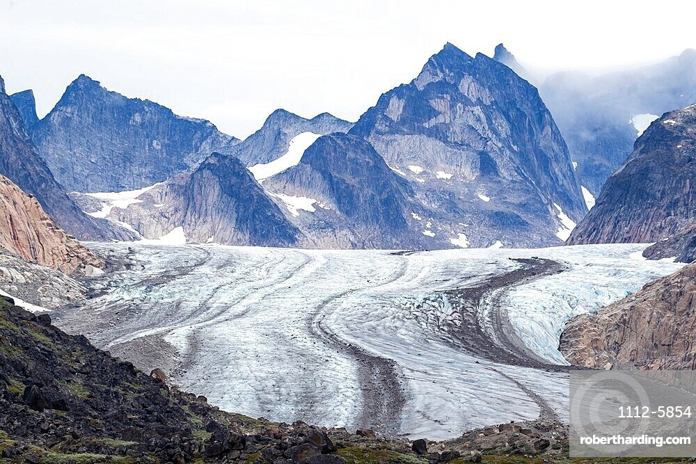 The tidewater Igdlorssuit Glacier reaching down to the sea, Prins Christian Sund, Greenland.