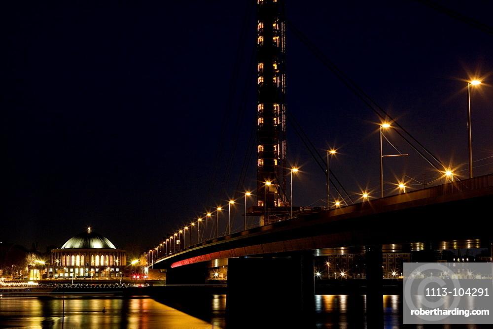 Oberkassel bridge and concert hall Tonhalle at night, Duesseldorf, North Rhine-Westphalia, Germany