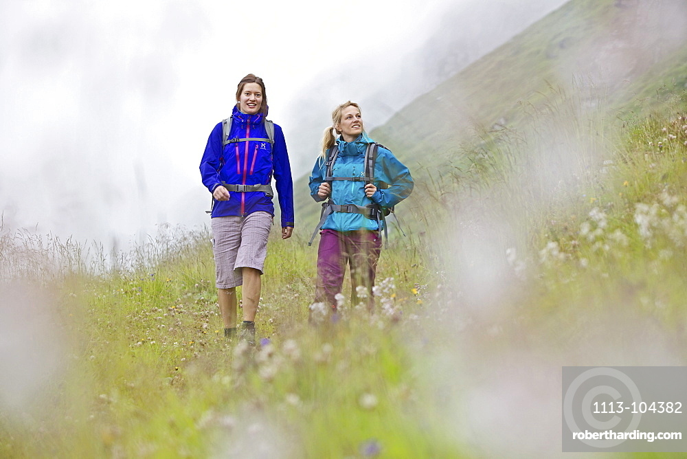 Two female hikers walking the Alpe-Adria-Trail, Nockberge, Carinthia, Austria
