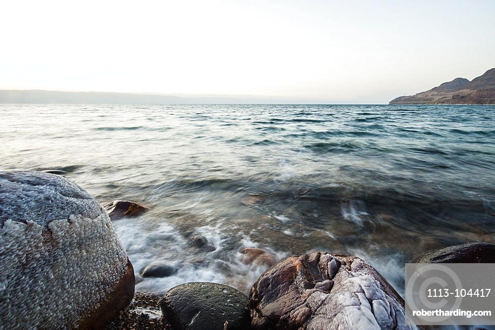 Salt encrusted Stone at Dead Sea, Jordan, Middle East
