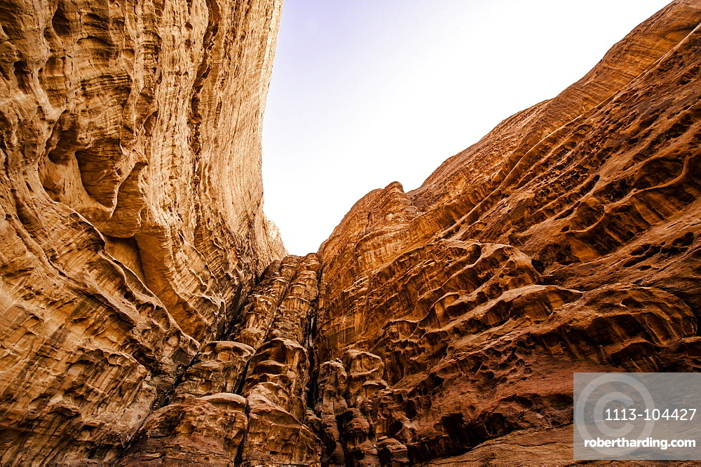 Steep rock face, Wadi Rum, Jordan, Middle East