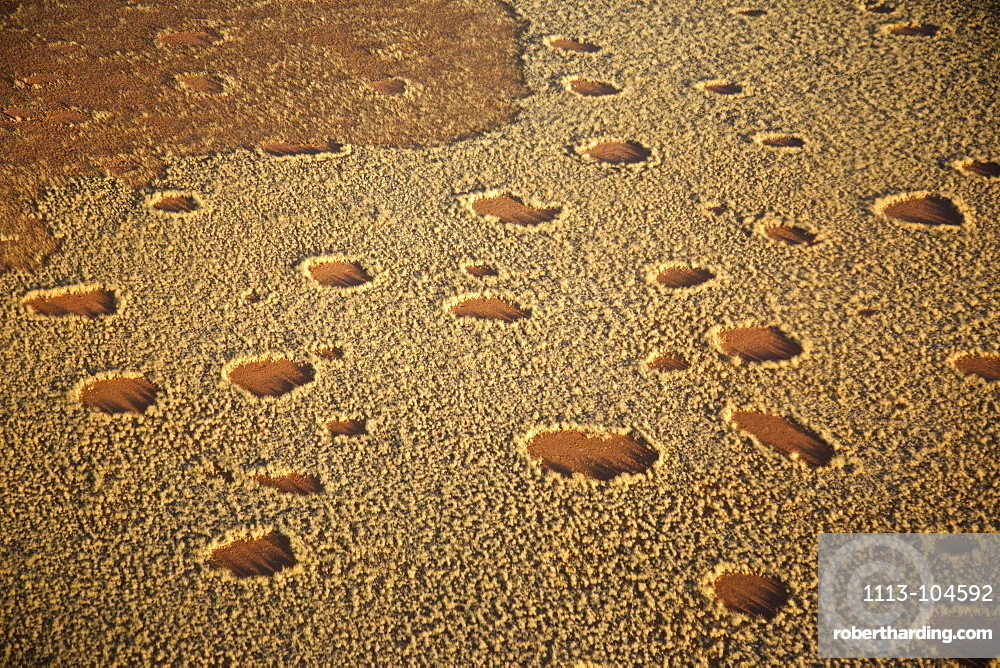 Aerial shot of fairy circles in the savanna, Namibia