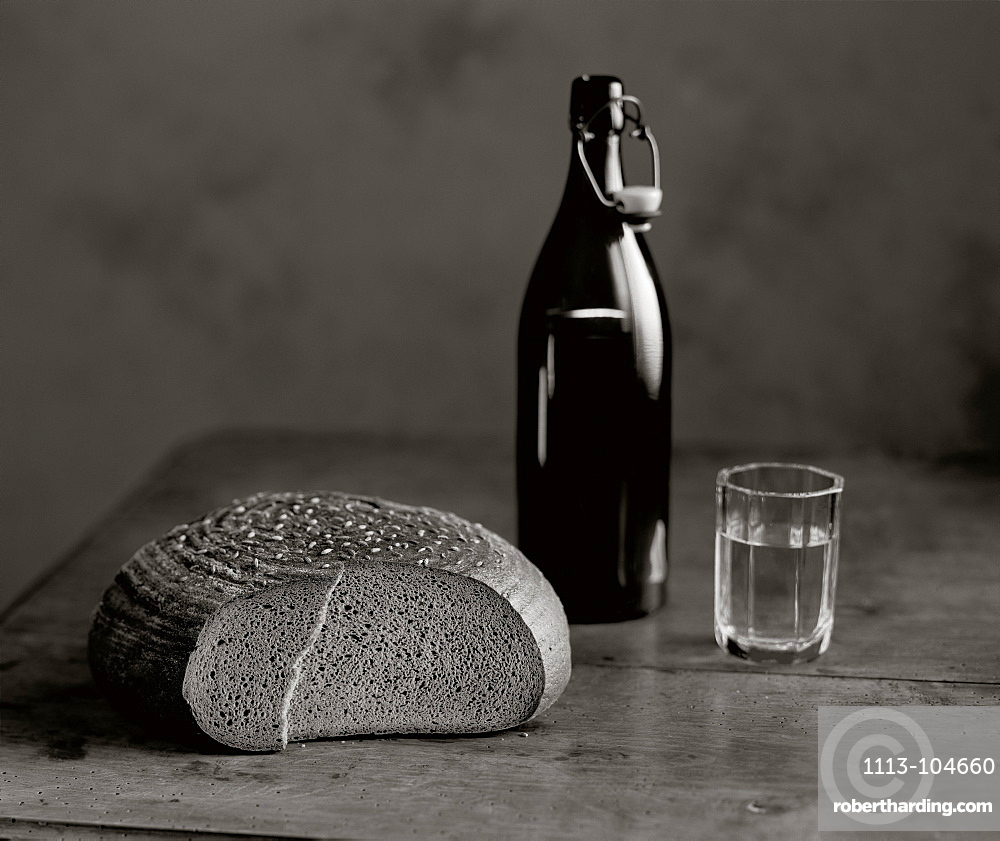 Loaf of bread and glass of water, Snack, Food