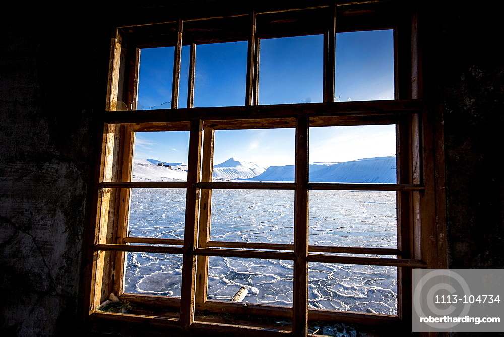 Arctic sea with ice at Spitzbergen through a window, Spitzbergen, Svalbard, Norway