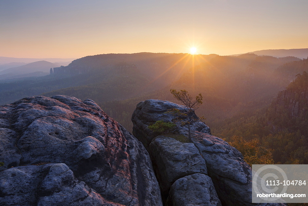 Sunrise over the Saxon Switzerland National Park, with view to the Mittelwinkel in the Schrammstein rock formation in late summer, Saxony, Germany
