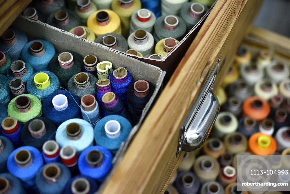 Sewing garns at a dressmakers in Hamburg, Germany