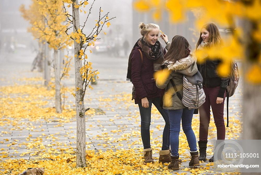 3 girls talking outside, Hamburg, Germany, Europe