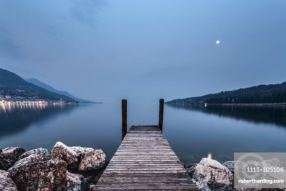 Landing Stagealong the shoreline at Salo, Lake Garda, Alps, Lombardy, Italy