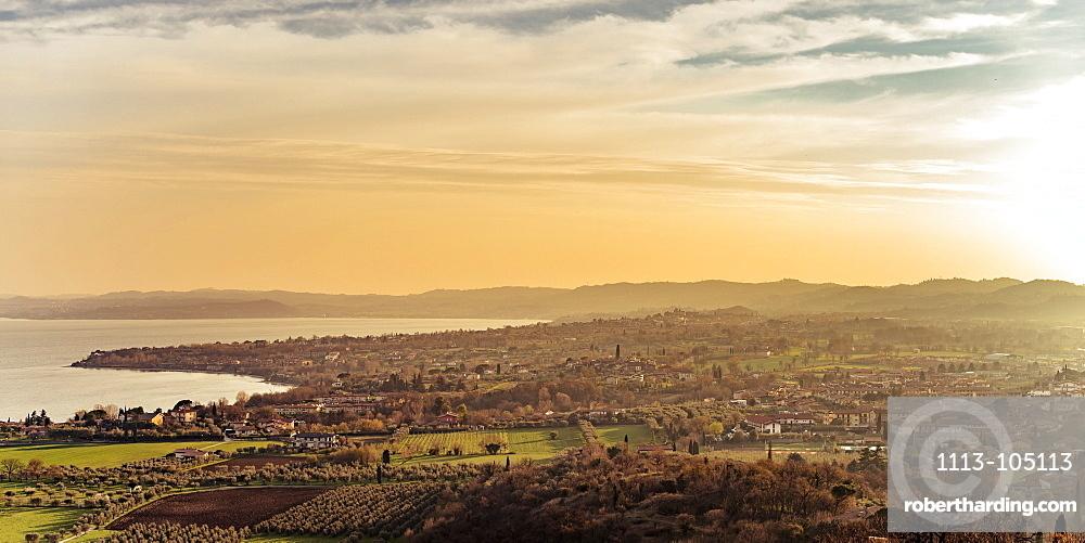 Sunset over Manerba del Garda, Lake Garda, Alps, Lombardy, Italy