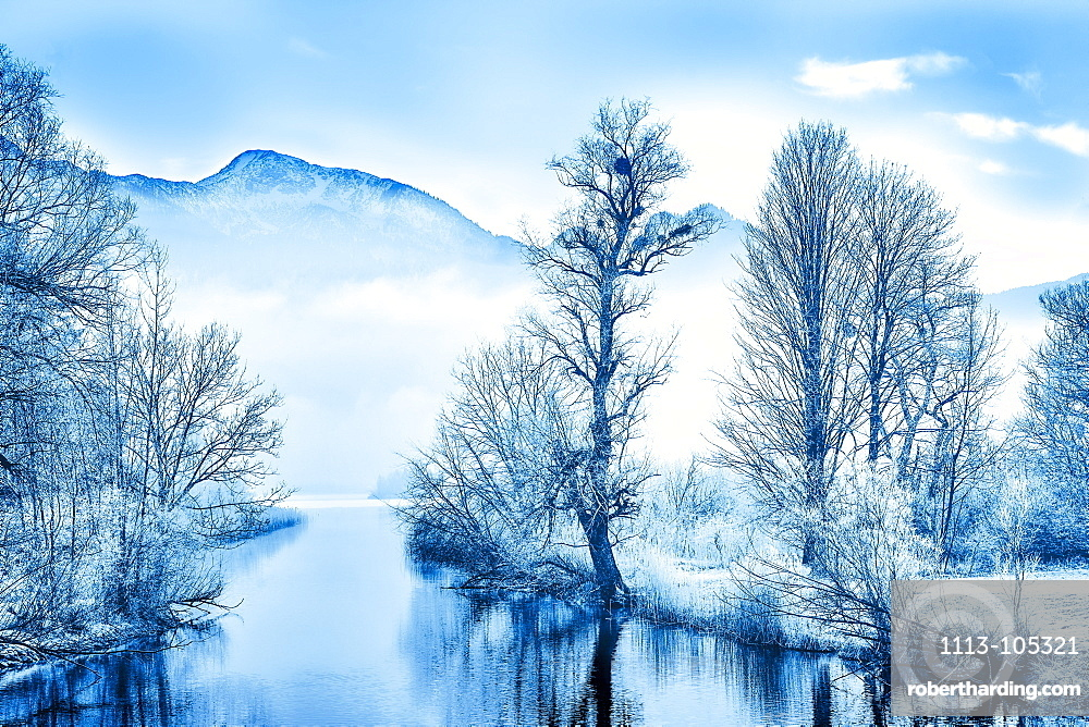 View of the Loisach in winter with frosted trees, Bavaria, Germany