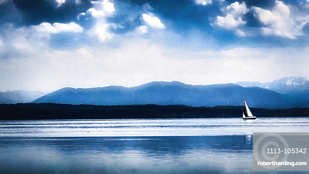 Mountain view at Lake Starnberg, Germany, Bavaria