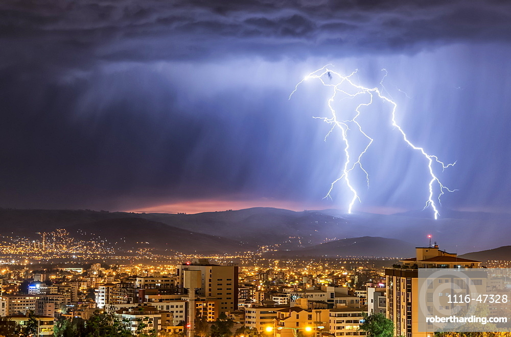Stormy skies and lightning over a city at night, Cochabamba, Bolivia