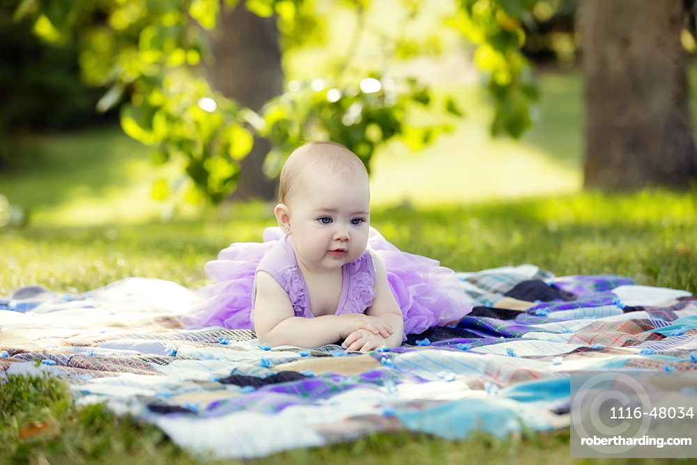 A baby girl in a purple dress laying on a blanket in a park during a warm autumn afternoon, Edmonton, Alberta, Canada