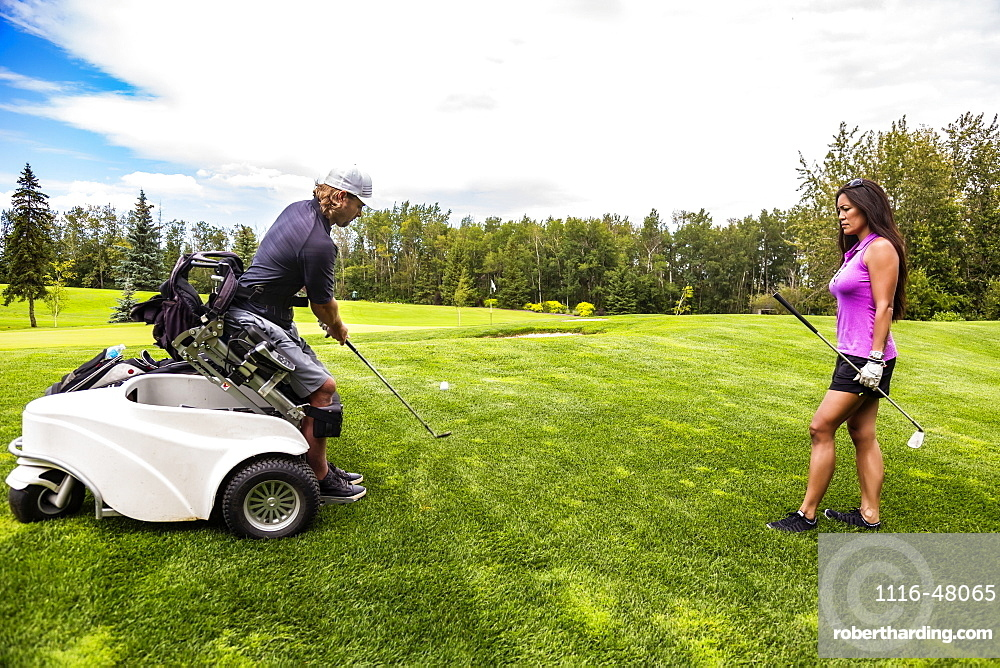 A physically disabled golfer, using a specialized wheelchair, hits the golf ball with his golf club on the golf green as a female golfer stands watching, Edmonton, Alberta, Canada