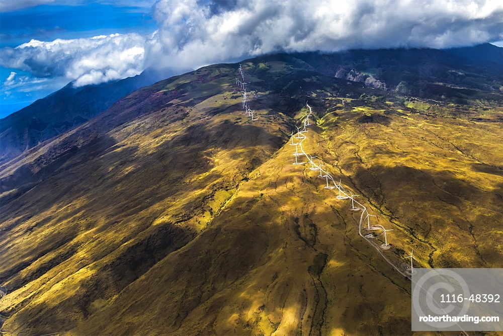 Springtime aerial view showing the Kahea Wind Power wind farm on West Maui, Hawaii, USA that is positioned to capture power from the trade winds that funnel through Maui's central valley, Maui, Hawaii, United States of America