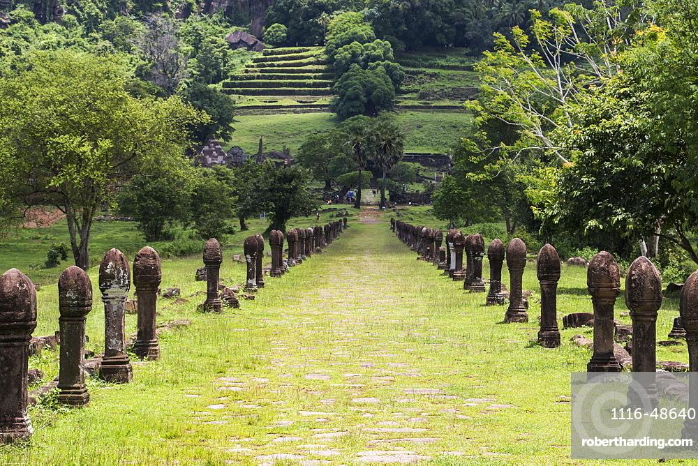 Causeway bordered by sandstone posts, Vat Phou Temple Complex, Champasak, Laos