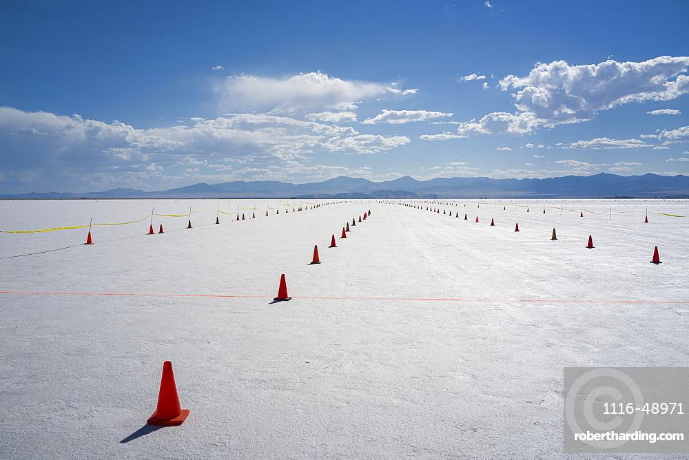 Staging lanes at starting line on Bonneville Salt Flats of Bonneville Speed Week 2017, Wendover, Utah, United States of America