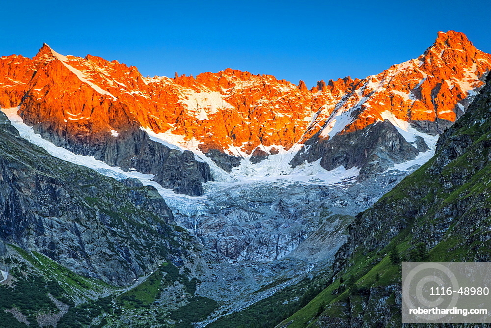 Sunrise glow on the peaks above l'A Neuve Glacier, viewed from La Fouly, Swiss Val Ferret, Alps, La Fouly, Val Ferret, Switzerland