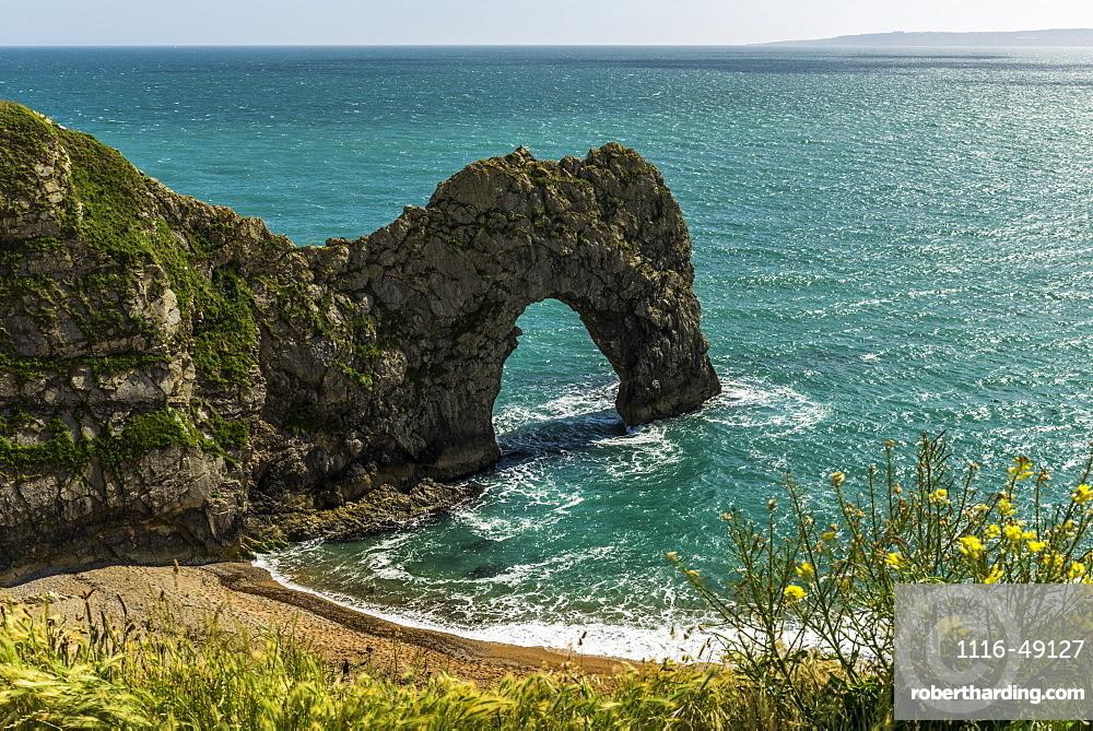 Durdle Door, a natural arch along the coast, Dorset, England