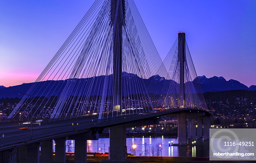 Port Mann Bridge at dusk, viewed from Surrey looking into Coquitlam, Surrey, British Columbia, Canada