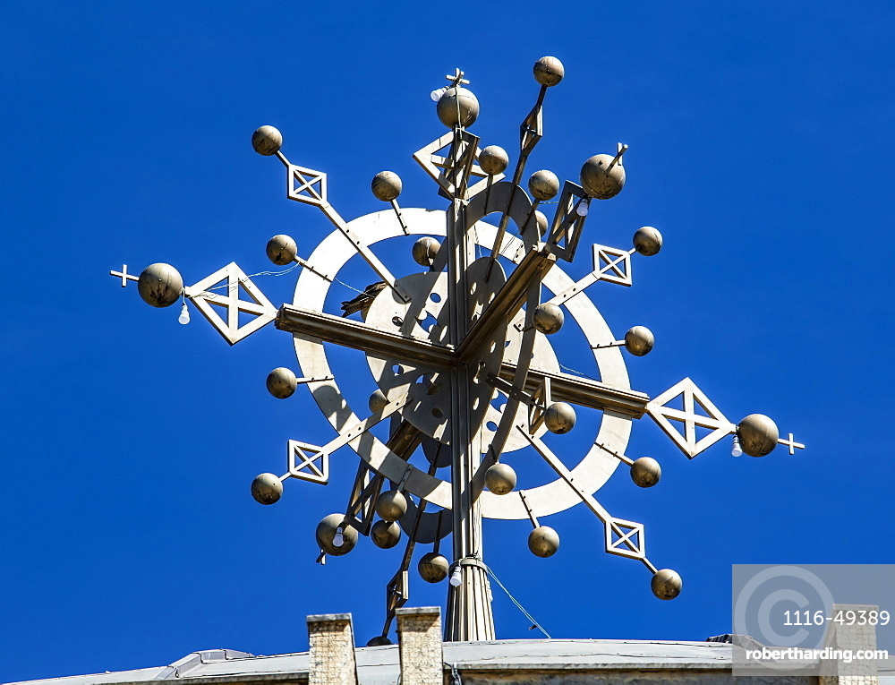 Ethiopian Orthodox cross atop of the Cathedral of Tsion Maryam (Our Lady Mary of Zion), Axum, Tigray Region, Ethiopia