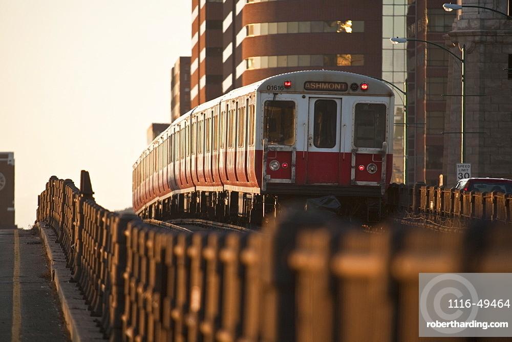Subway train on a bridge, Longfellow Bridge, Charles River, Boston, Suffolk County, Massachusetts, USA