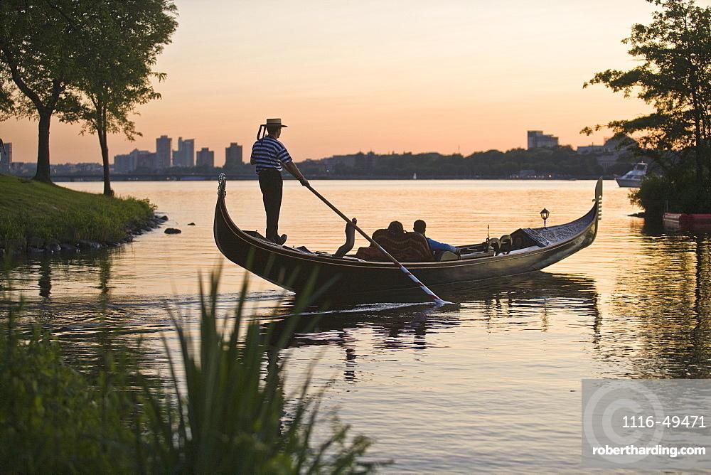 Man rowing a gondola, Charles River, Boston, Suffolk County, Massachusetts, USA