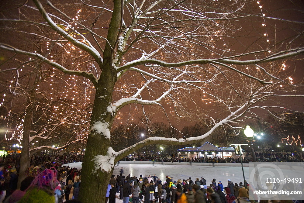 People at an ice rink on new year's eve, Frog Pond, Boston Common, Boston, Suffolk County, Massachusetts, USA