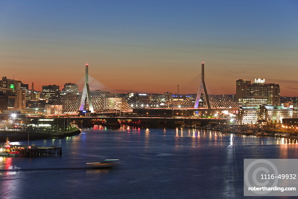 Bridge across a river, Leonard P. Zakim Bunker Hill Bridge, Charles River, Boston, Massachusetts, USA