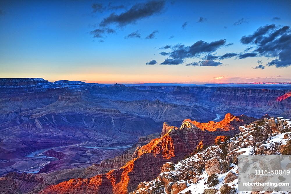 Grand Canyon National Park, South rim at sunset; Arizona, United States of America