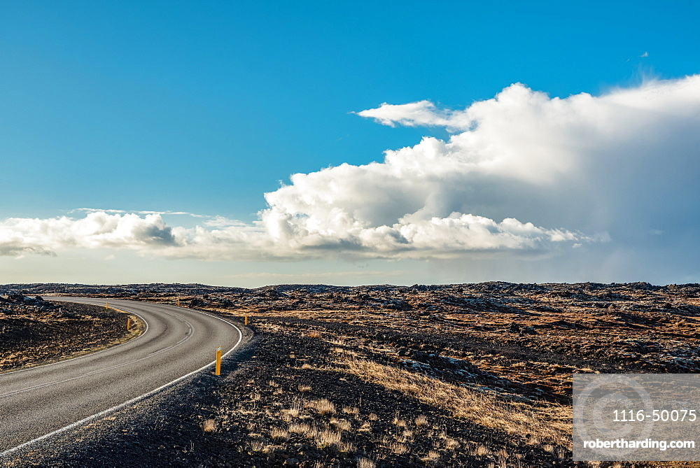 Volcanic landscape and curving road, Reykjanes Peninsula; Iceland