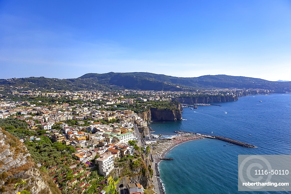 The town of Sorrento along the Bay of Naples, Amalfi Coast; Sorrento, Italy