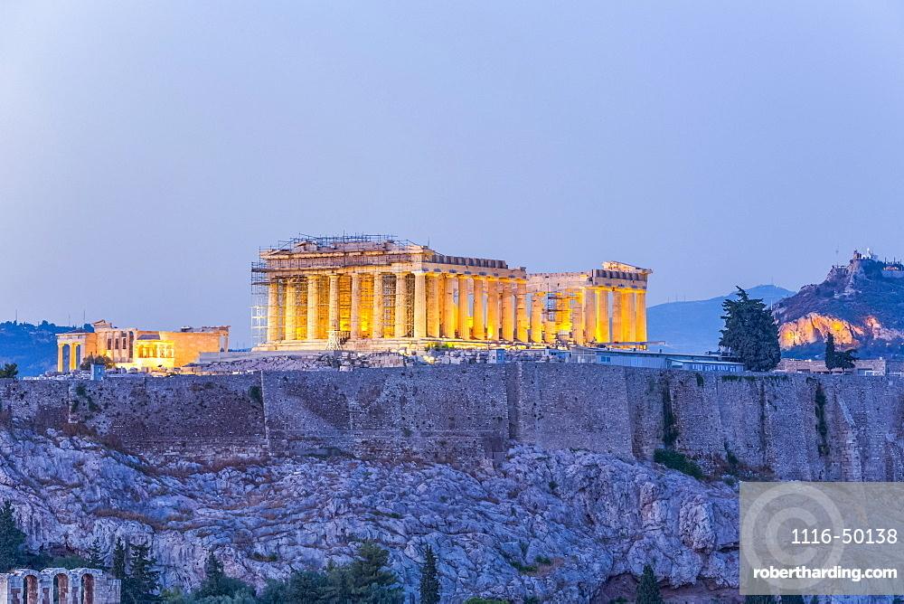 Parthenon, Acropolis of Athens illuminated at dusk; Athens, Greece