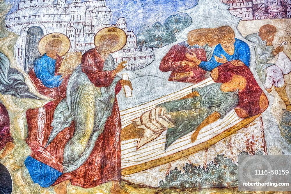 Fresco, Gate-Church of St John, Kremlin, Golden Ring; Rostov Veliky, Yaroslavl Oblast, Russia