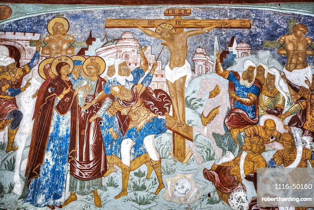 Fresco, Gate Church of the Resurrection (1670), Kremlin, Golden Ring; Rostov Veliky, Yaroslavl Oblast, Russia