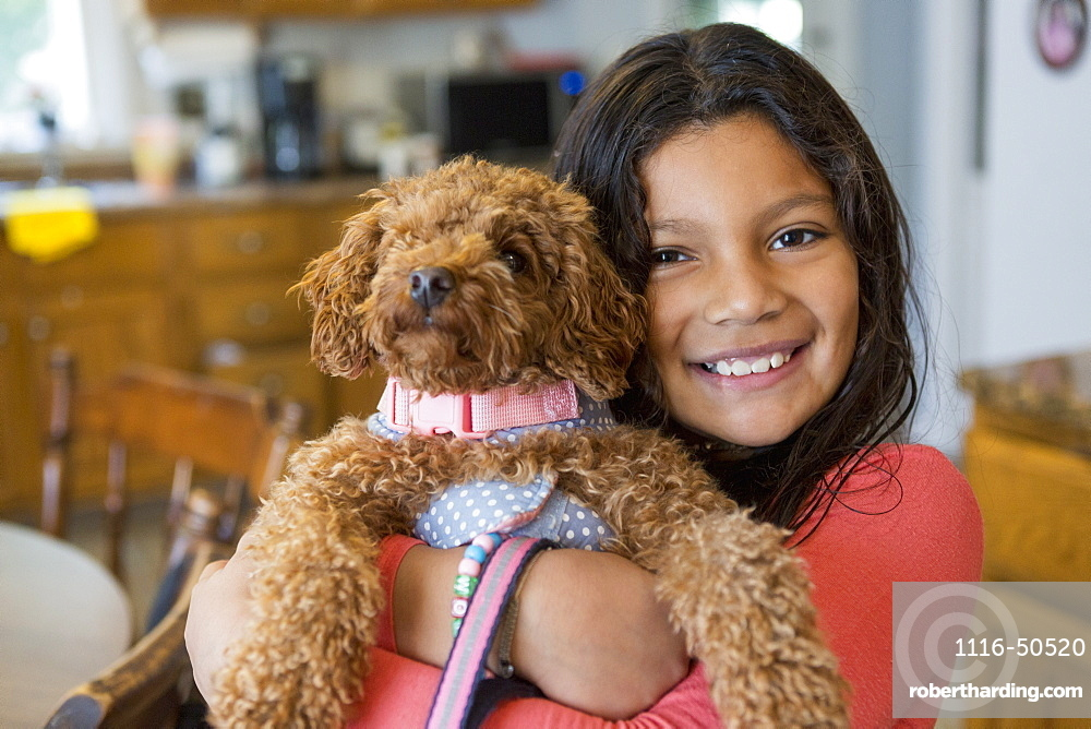 Teen with her pet dog
