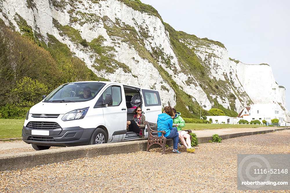 Stopping for lunch at the base of the White Cliffs of Dover; Saint Margarets Bay, England, United Kingdom