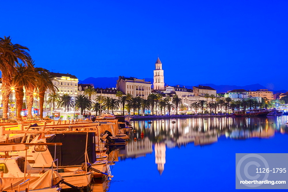 Split Harbour with Cathedral of Saint Domnius at dusk, Split, Dalmatian Coast, Croatia, Europe