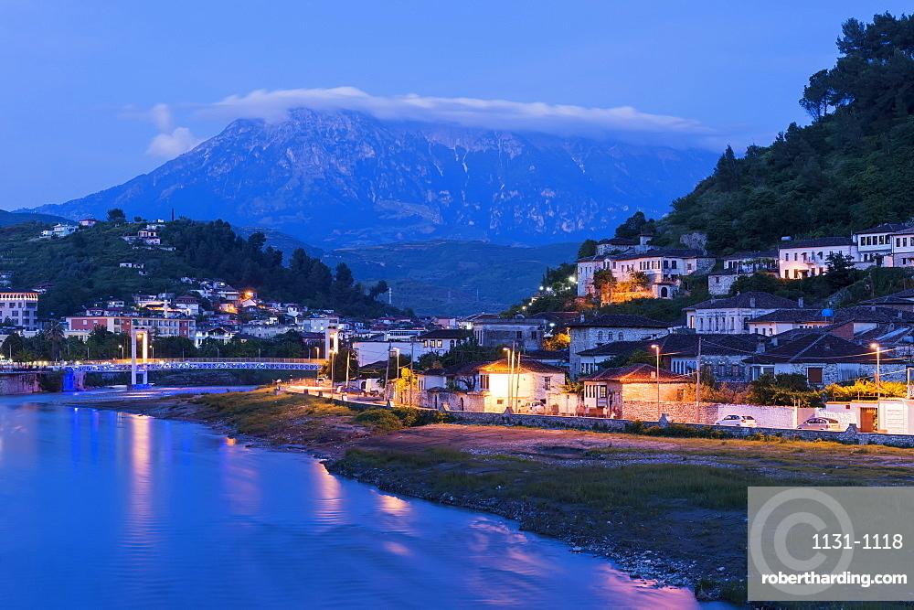 Ottoman houses built on the hills overlooking Berat City at sunset, UNESCO World Heritage Site, Berat, Albania, Europe