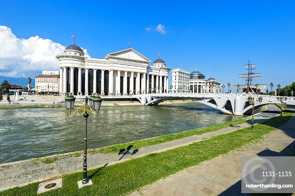 Archaeological Museum of Macedonia along the Vardar River and Eye Bridge, Skopje, Macedonia, Europe