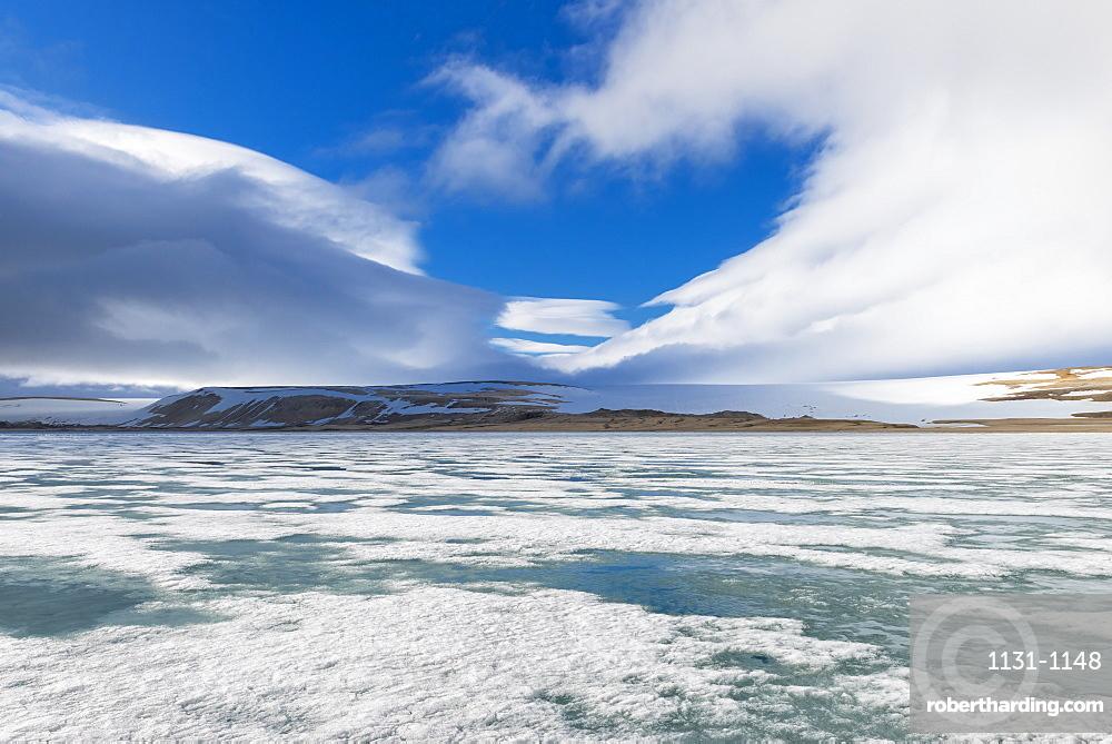 Palanderbukta Bay, pack ice pattern, Gustav Adolf Land, Nordaustlandet, Svalbard archipelago, Arctic, Norway, Europe