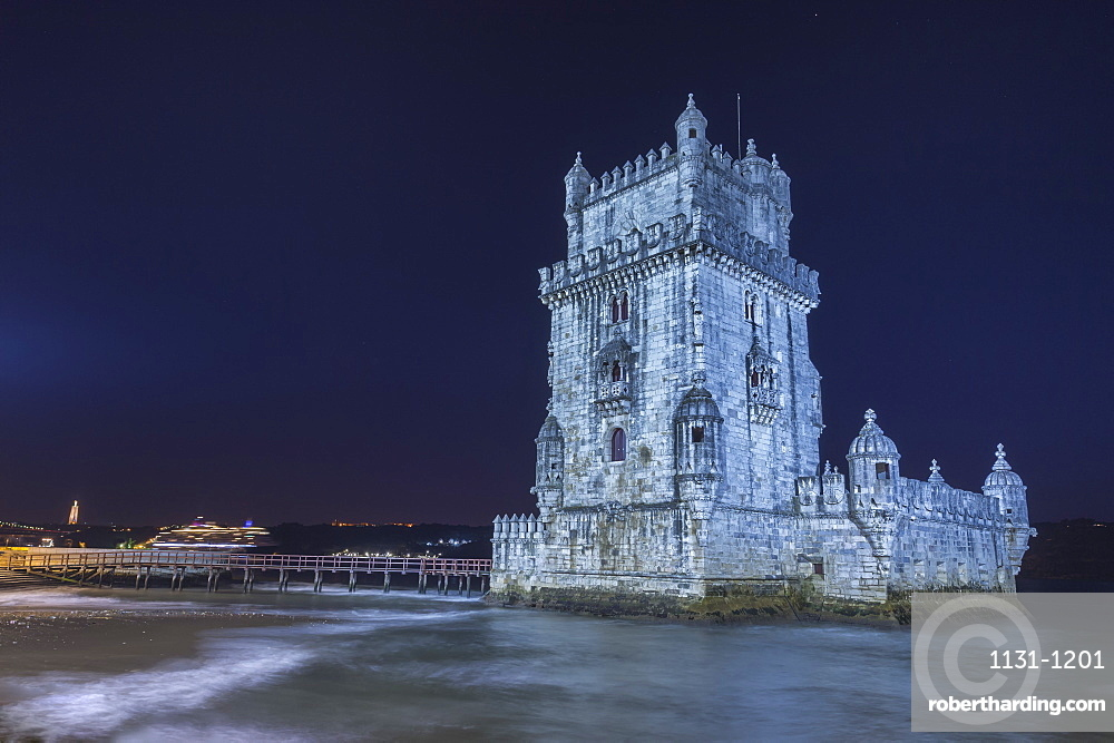 Cruise ship behind Torre de Belem (Belem Tower) (Tower of St. Vincent), UNESCO World Heritage Site, Belem, Lisbon, Portugal, Europe