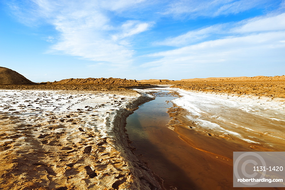 Stream flowing through the Dasht-e Lut or Lut desert, World hottest place, Kerman Province, Iran